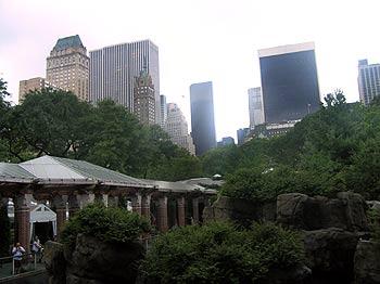 Manhattan skyline over the Central Park zoo.